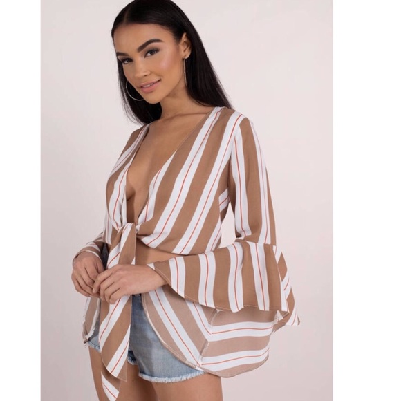 Tobi Tops - Tobi Here To Stay Beige Front Tie Blouse
